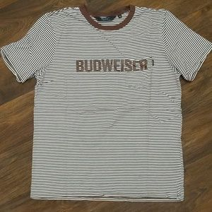 Budweiser been trill brown striped t shirt Large
